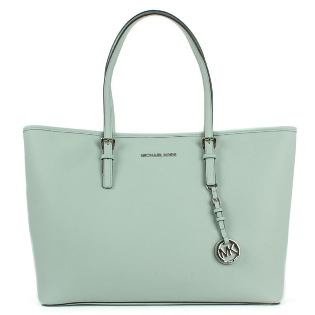 Jetset Multifunctional Top Zip Celadon Leather Tote Bag