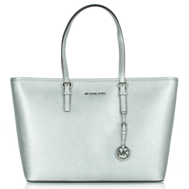 Jetset Multifunctional Top Zip Silver Leather Tote