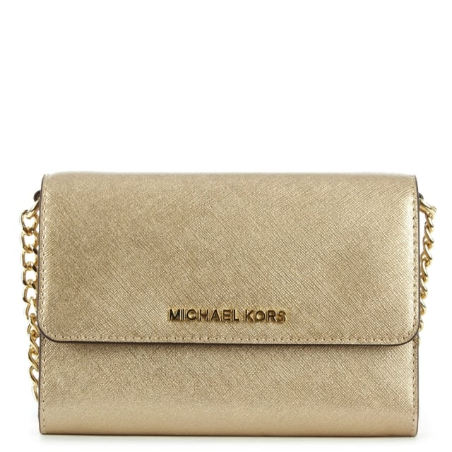 0cb641a350ed Michael Kors Jetset Travel Pale Gold Leather Smartphone Cross-Body Bag