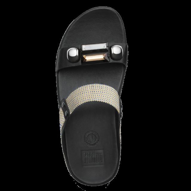 886655868c04 FitFlop Jeweley Slide Black Leather Sandal