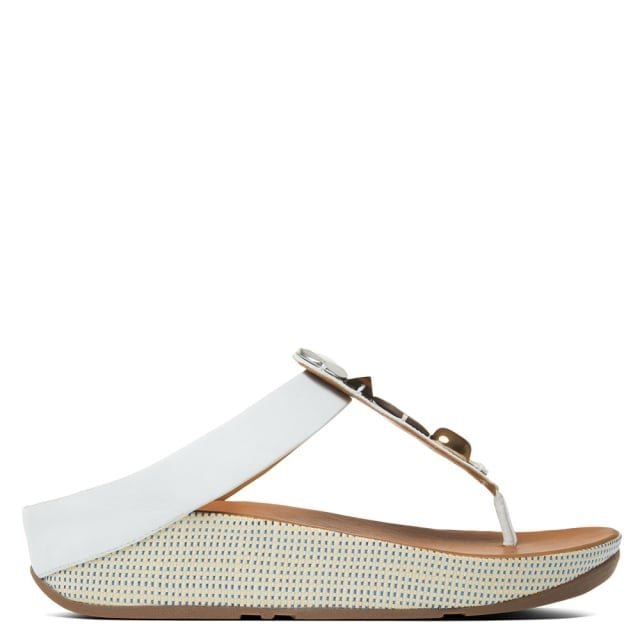 Jeweley Toe White Leather Flip Flop