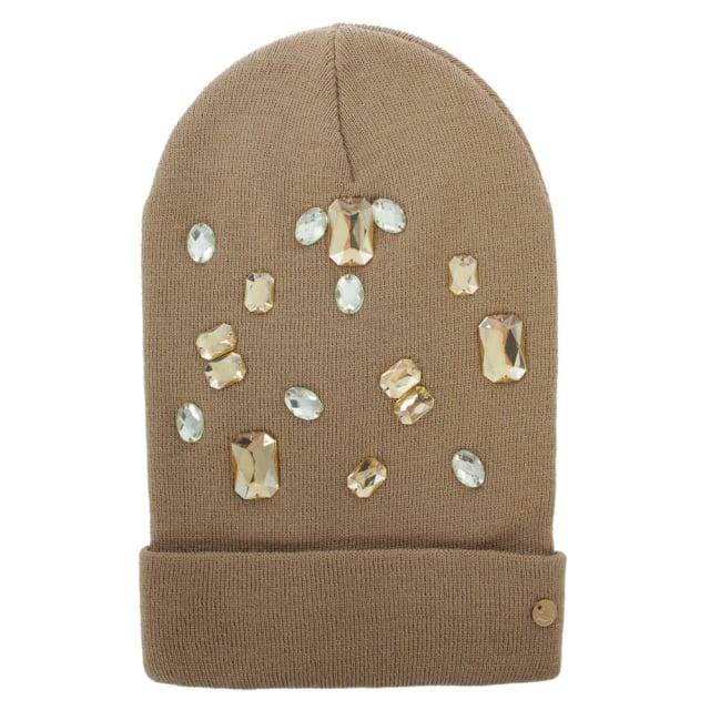 25de79fc6e8 Armani Jeans Jewelled Beige Wool Mix Beanie Hat