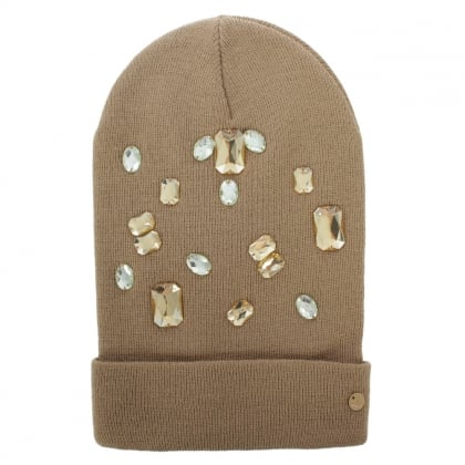 Jewelled Beige Wool Mix Beanie Hat