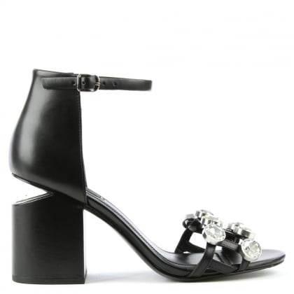 Jewelled Black Leather Abby Sandal