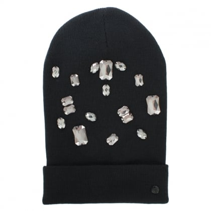 Jewelled Black Wool Mix Beanie Hat