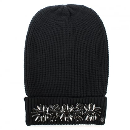 Jewelled Black Wool Mix Fold Over Beanie Hat