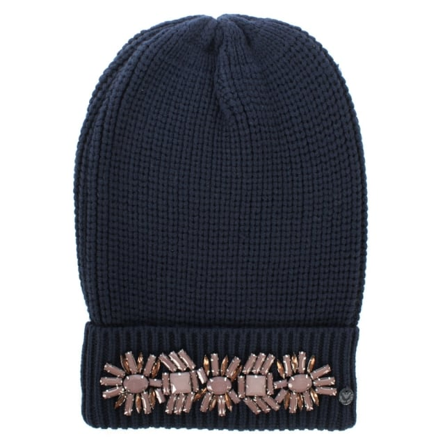 e2cd6376 Armani Jeans Jewelled Navy Wool Mix Fold Over Beanie Hat