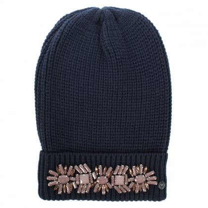Jewelled Navy Wool Mix Fold Over Beanie Hat