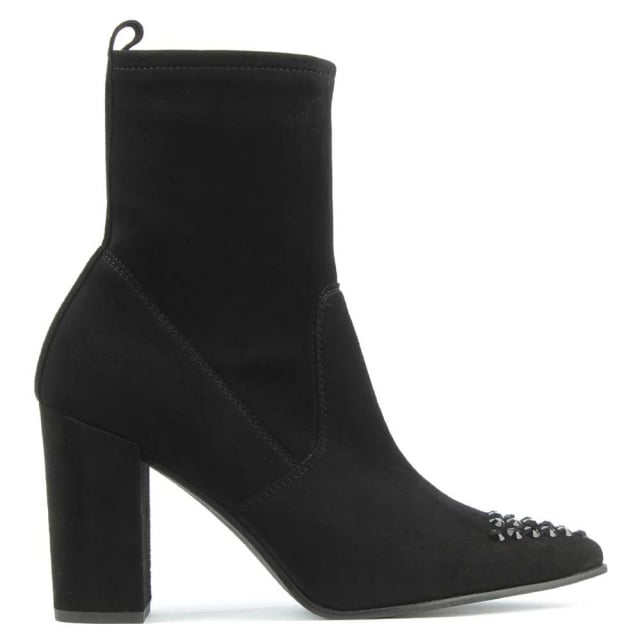 Jewelled Toe Black Suede Block Heel Ankle Boot