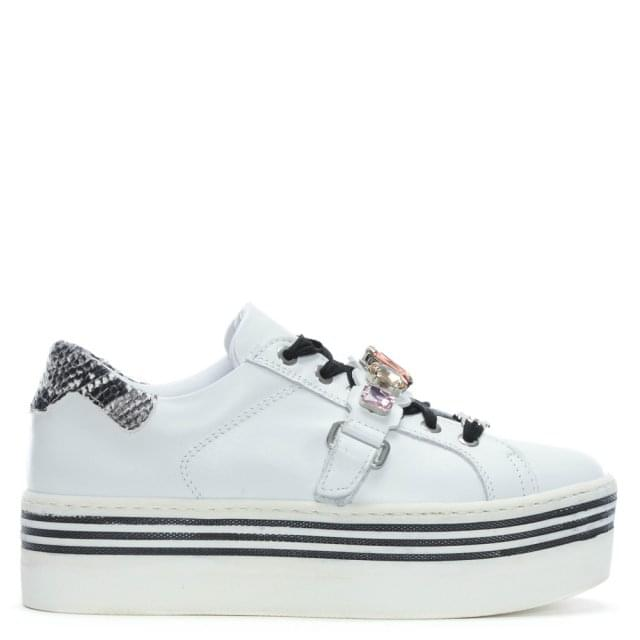 jian white leather flatform jewelled trainers