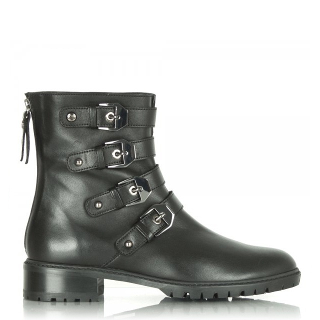 Jitterbug Black Buckle Mid-Calf Boot