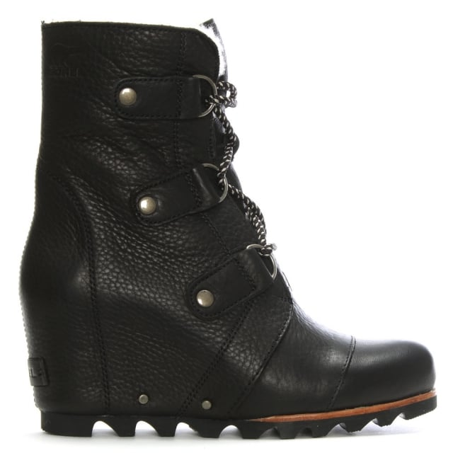 sorel joan of arctic black leather wedge boots