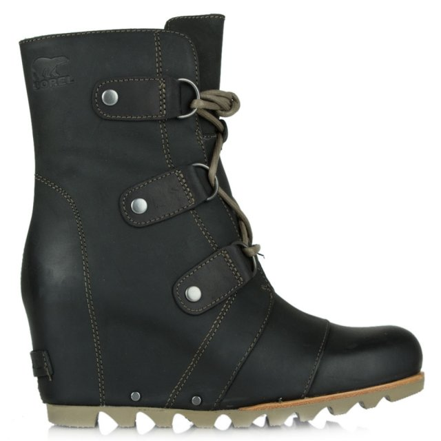 Joan Of Arctic Black Leather Wedge Winter Boot