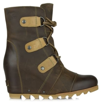 Joan Of Arctic Tan Leather Wedge Winter Boot