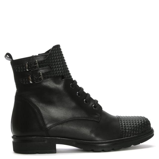 DF By Daniel Joby Black Leather Biker Boots