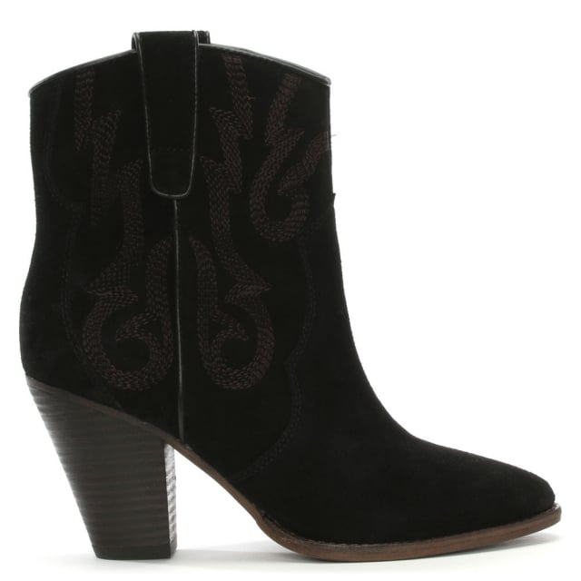 Joe Embroidered Black Suede Leather Ankle Boots