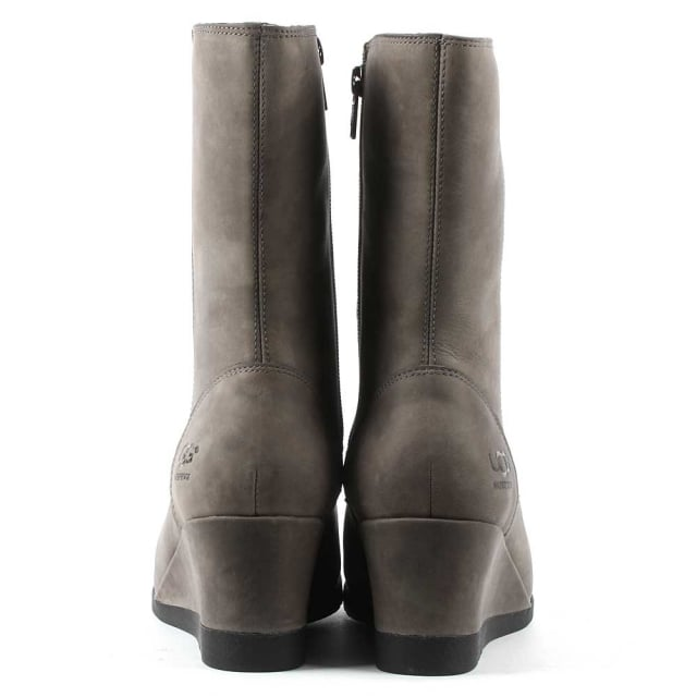cad4451df7f Joely Charcoal Leather Low Wedge Ankle Boot