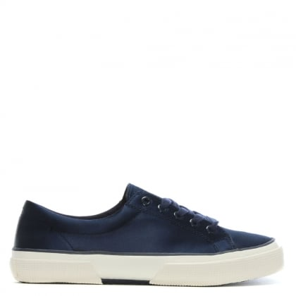 Jolie Navy Satin Lace Up Sneakers