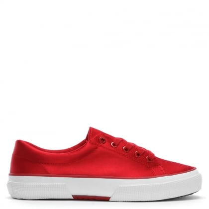 Jolie Red Satin Lace Up Sneakers
