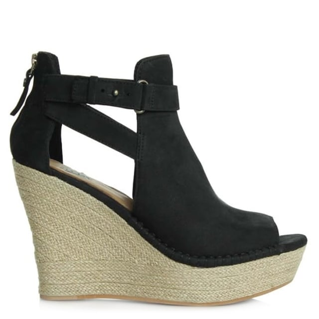 Jolina Black Leather Peep Toe Wedge Sandal