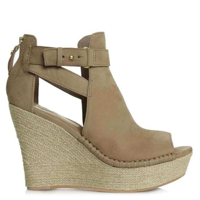 Jolina Tawny Leather Peep Toe Wedge Sandal
