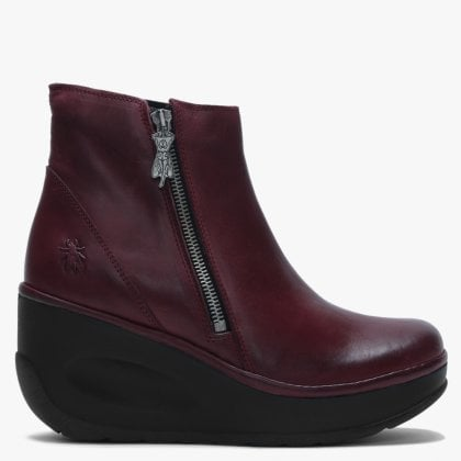 Jome Purple Leather Side Zip Wedge Ankle Boots