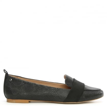 Jonette Snake Black Leather Loafer