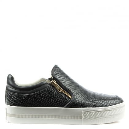 Jordy Black Leather Reptile Chunky Sole Trainer