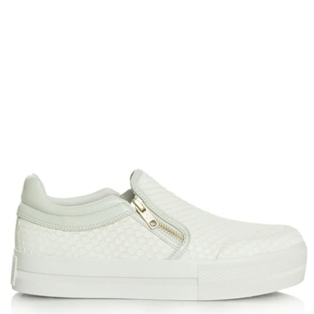 Jordy White Leather Reptile Chunky Sole Trainer