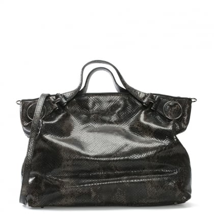 Josephine Black Leather Reptile Tote Bag
