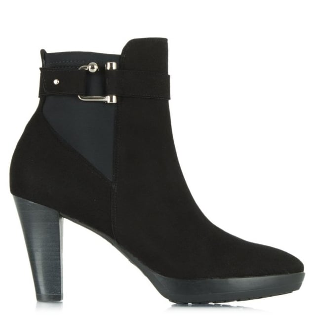 Joyfully Black Suede Buckled Ankle Boot