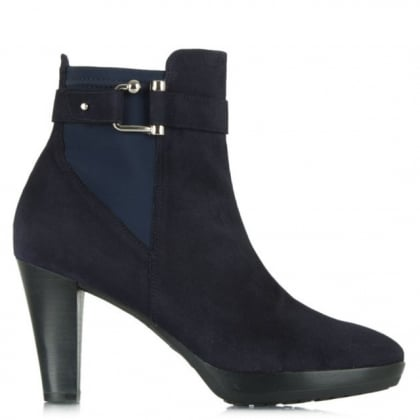 Joyfully Navy Suede Buckled Ankle Boot
