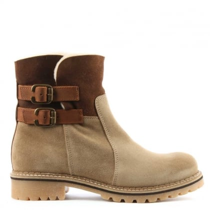 Juddi Beige Suede Shearling Cuff Ankle Boot