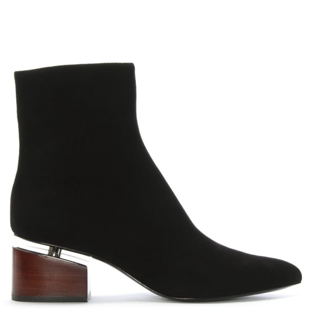 Jude Black Leather Floating Heel Ankle Boots