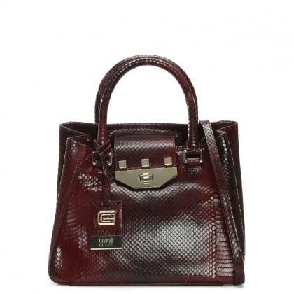 Juditte Burgundy Reptile Leather Tote Bag