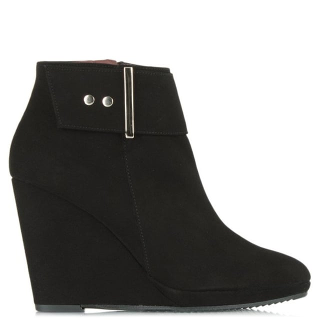 Jumpy Black Suede Buckle Wedge Ankle Boot