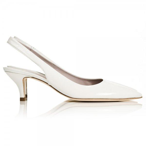 K&S White Patent 31 45520 Women's Sling Back Mid Heel Shoe