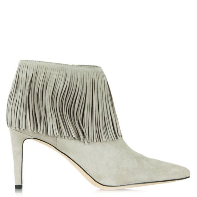 Kandice Grey Suede Pointed Toe Fringed Ankle Boot