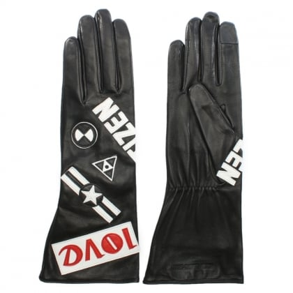 Kaneda Black Leather Long Line Gloves