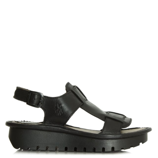 Kani Black Leather Sling Back Sandal