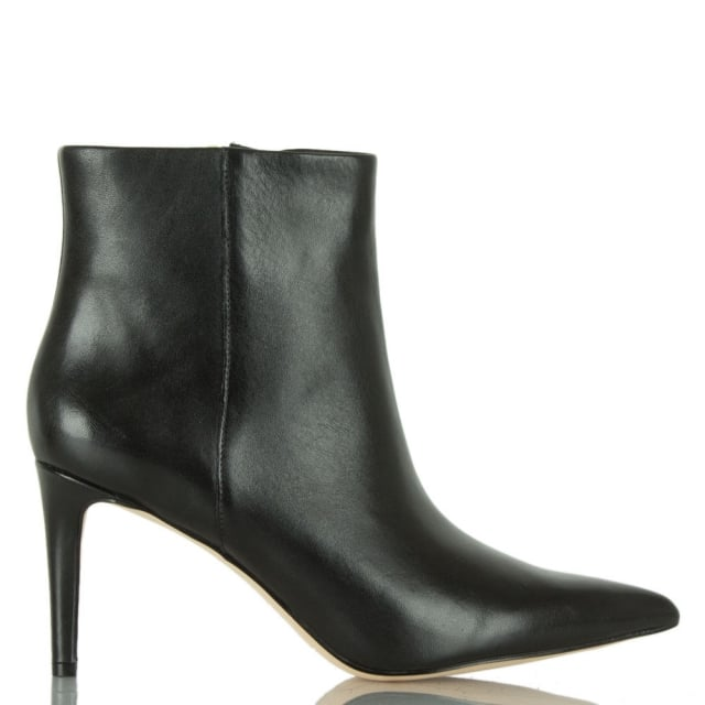Karen Black Leather Pointed Toe Ankle Boot