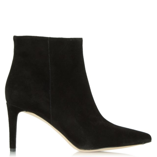 Karen Black Suede Pointed Toe Ankle Boot
