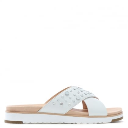 Kari Bling Studded White Leather Sliders