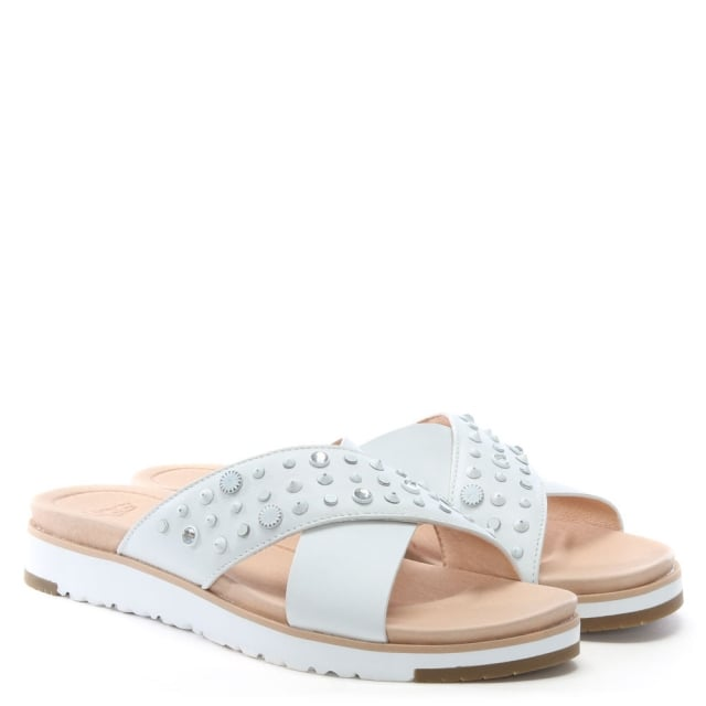 89bbae873c2 Kari Bling Studded White Leather Sliders