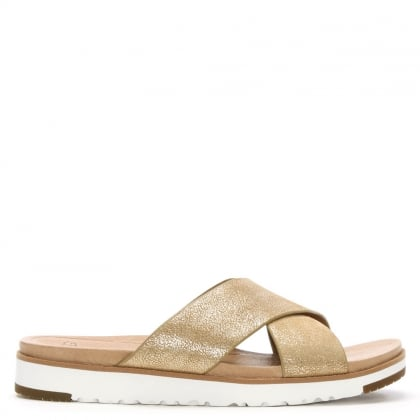 Kari II Gold Metallic Leather Criss Cross Sandal