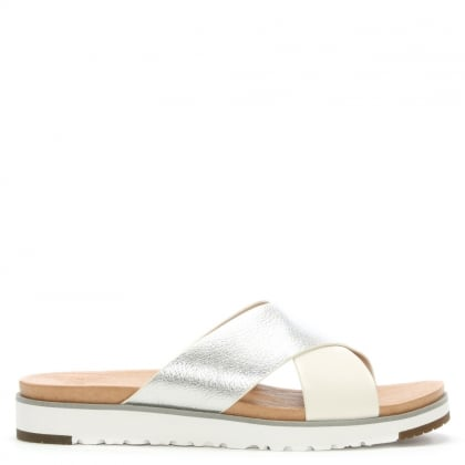 Kari II Silver & White Leather Criss Cross Sliders