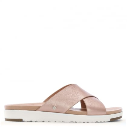 Kari Rose Gold Metallic Leather Sliders