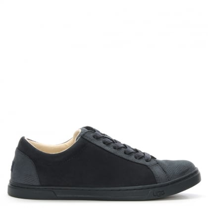 Karine Navy Snake Embossed Lace Up Trainer