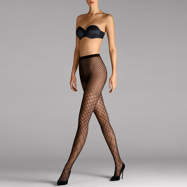 Karo Black Grid Women's Tights