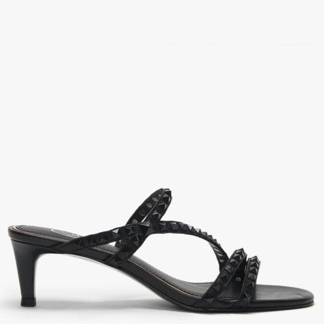 20f8dbe2f4 Ash Kate Studs Black Leather Kitten Heel Sandals